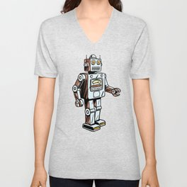 Retro Robot Toy Unisex V-Neck