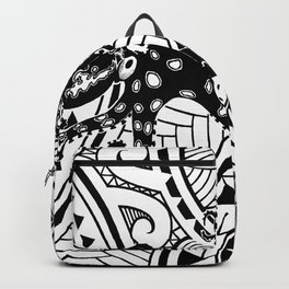 bluering octopus and boxer crab in tribal Backpack