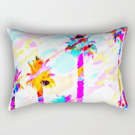 palm tree with colorful painting texture abstract background in pink blue yellow red Rectangular Pillow
