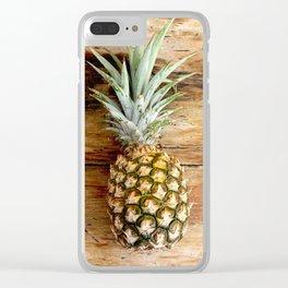 Pineapple on woodgrain Clear iPhone Case