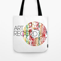 record Tote Bags featuring Art Record by kartalpaf