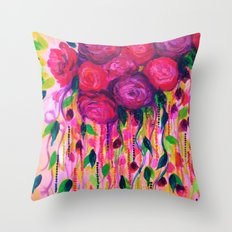 ROSES ARE RAD 2- Bold Pink Red Roses Floral Bouquet Vines, Flower Abstract Acrylic Painting Fine Art Throw Pillow