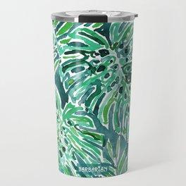 JUNGLE VIBES Green Monstera Watercolor Print Travel Mug