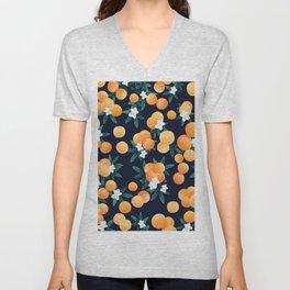 Orange Twist Flower Night Vibes #3 #tropical #fruit #decor #art #society6 Unisex V-Neck