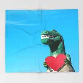 Tiny Arms, Big Heart: Tyrannosaurus Rex with Red Heart Throw Blanket