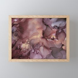Ink Swirls Painting Lavender Plum Gold Flow Framed Mini Art Print