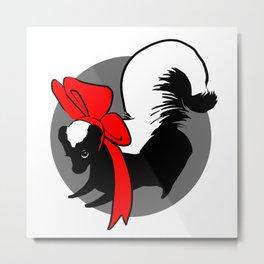 Cutie Bow Skunk Metal Print