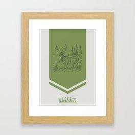 Lodge series - Deer (green on cream) Framed Art Print