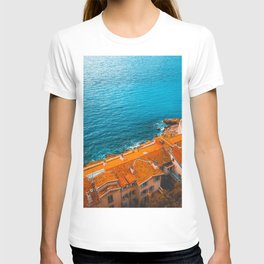 orange rooftops and blue ocean T-shirt