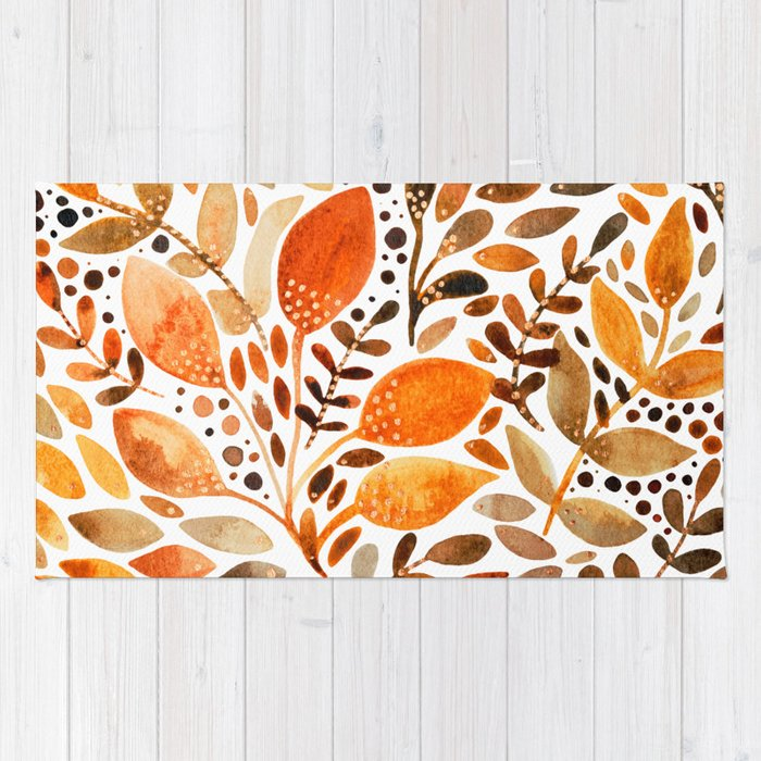 Autumn watercolor leaves Rug