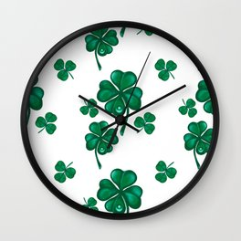 Good luck! Four leaf clover seamless pattern  Wall Clock
