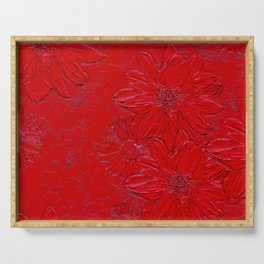 Embossed Red Floral Serving Tray