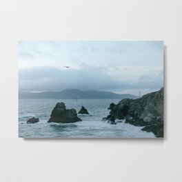 View of Golden Gate Bridge from Sutro Baths Metal Print