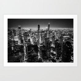 Nighttime Chicago Skyline Art Print