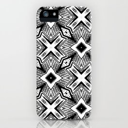 Black and White - Woodcut Etching Cross Geometric iPhone Case