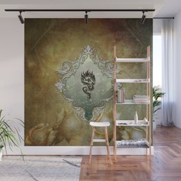 Wonderful tribal dragon on vintage background Wall Mural