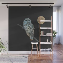 Owl, See the Moon (sq Barred Owl) Wall Mural