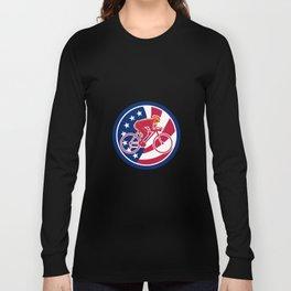 American Cyclist Cycling USA Flag Icon Long Sleeve T-shirt