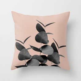 Eucalyptus Leaves Black Gray White Pale Terracotta #1 #foliage #decor #art #society6 Throw Pillow