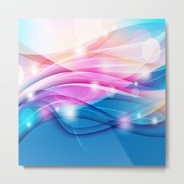 Modern Pink and Blue Sparkle Streamers Metal Print