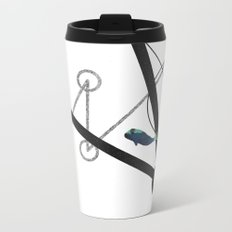 undulate geometric with whale Metal Travel Mug
