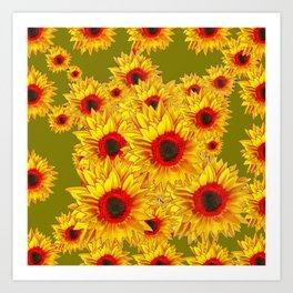 Moss Green & Yellow Red Center Sunflowers Pattern Art Print