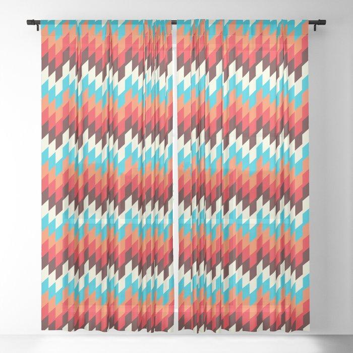 COLORFUL MAYAKI MOSAIC PATTERN BY SUBGRL Sheer Curtain