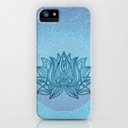 Blue Turquoise Lotos Flower Spiritual Tribal Art iPhone Case