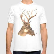 Ice Reindeer MEDIUM Mens Fitted Tee White