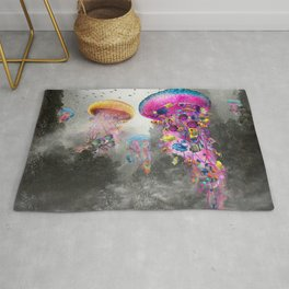 Electric Jellyfish in a Misty Mountain Rug