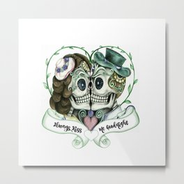 Skull Couple Always Kiss Me Goodnight Metal Print
