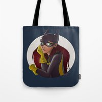 batgirl Tote Bags featuring Batgirl by Angie Nasca