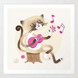 Miko playing ukulele Art Print