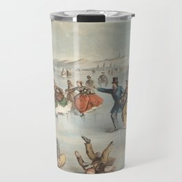 Vintage Central Park Ice Skating Painting (1861) Travel Mug
