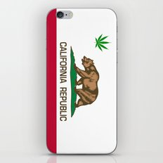 California Republic state flag with green Cannabis leaf iPhone & iPod Skin