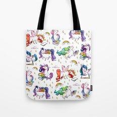 Reading Unicorn Pattern Tote Bag