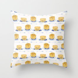 Cute blueberry pancake day breakfast vector illustration Throw Pillow