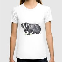 badger T-shirts featuring Badger by ZOO (William Redgrove)