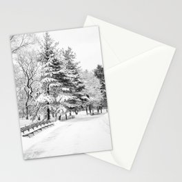 New York City Winter Trees in Snow Stationery Cards