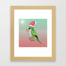Green Christmas parrot Framed Art Print
