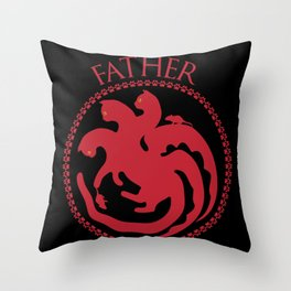 Father of Cats Funny Gift For Cat Lovers Throw Pillow