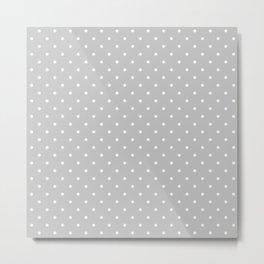 Small White Polka Dots On Light Grey Background Metal Print