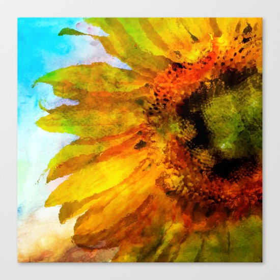 Sunflower on colorful watercolor background- Flowers on #Society6 Canvas Print