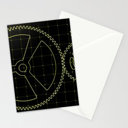 Set of yellow gears and cogs on virtual screen Stationery Cards