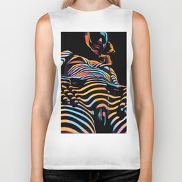 1731s-AK Striped Vulval Portrait Zebra Woman Power Pose by Chris Maher Biker Tank