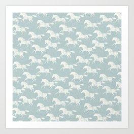 wild horses - dusty blue Art Print