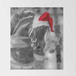 Santa Horse 6 BW Throw Blanket