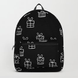 Black and White Christmas gift box pattern  Backpack