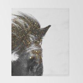 golden horse Throw Blanket