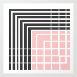 Square - Pink and Grey Art Print